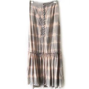 American Eagle Tye Die Maxi Skirt Grey & Pink Sz S
